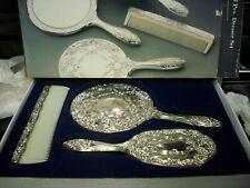 Nib Regal Silverplate Dresser Set Comb Mirror Brush Vintage victorian gift