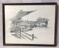 Paul N Norton Pencil Sketch Framed Print Unknown Mid Century Modern Building