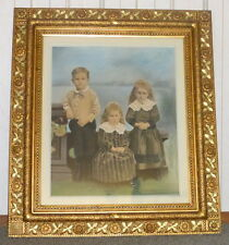 """Antique 1880's William Henry Kemps Children Color Painting 45"""" Carved Wood Frame"""