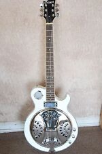 NEW RESONATOR JAZZ ELECTRIC ACOUSTIC GUITAR PEARL WHITE BLUES ABALONE INLAY