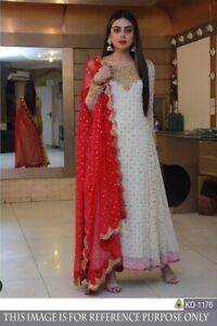 Long White Red Anarkali Suit Indian Bollywood Pakistani Gown Salwar Kameez Dress