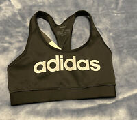 adidas Women's Ace Graphic Logo Sports Bra Size Small Black Fitted