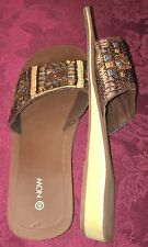 Size 8 Now Brand Sandals Beaded Section Slip On Style Super Comfortable