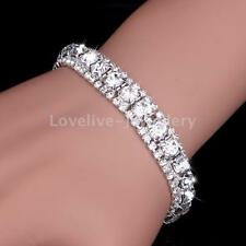 Sparkly Wedding Bridal Silver Crystal Rhinestone Bangle Bracelet Women Jewelry