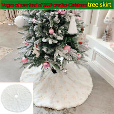 1 pcs White Christmas Tree Skirt Plush Cushion Faux Fur Xmas Floor Mat Ornaments