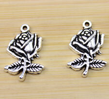 20/ 50/100 pcs wholesale:very beautiful Tibet silver A rose charm pendant