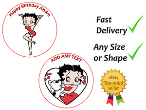 Personalised Betty Boop cake topper edible icing or Wafer
