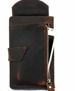 Genuine Leather Case for Apple iPhone X Book Wallet Cover cards slots Dark brown