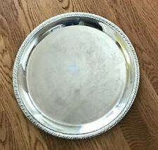 "12"" Round Hong Kong Silverplate Etched Tray"