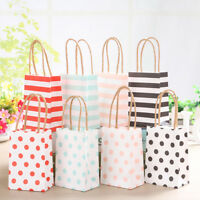 20Pc Striped Kraft Paper Gift Bag With Recyclable Twisted Handle Loot Bags Tote