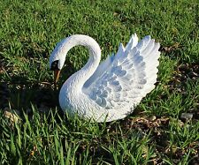 More details for beautiful trumpeter swan resin outdoor garden ornament / statue