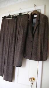 BNWT Minuet 3 x PIECE Jacket Skirt Touser Suit: Praline Wool Mix Boucle UK 12