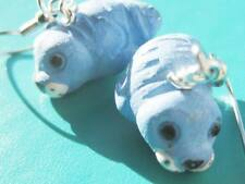 Peruvian Ceramic Blue baby seal pups quirky earrings