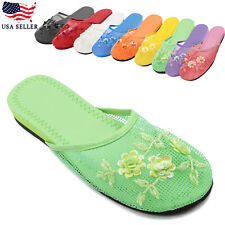 New Women's Chinese Mesh Slipper Floral Embroidered Sequin Comfort House Slipper