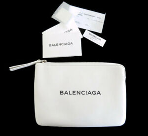 New Authentic Balenciaga White Black Medium Leather Clutch Pouch Bag