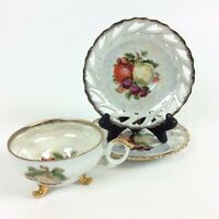 Vintage METASCO Lusterware Footed Cup and Saucer Apple Fruit 1 Cup 2 Saucers