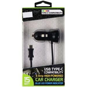 Cellet High Powered Car Charger For USB Type C Devices 3A - Black