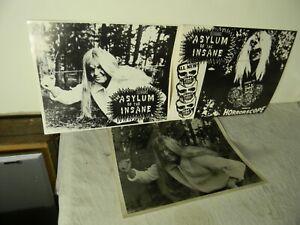 1970'S 3 ASYLUM OF THE INSANE HORRORSCOPE 3-D MONSTER MOVIE LOBBY CARDS RARE