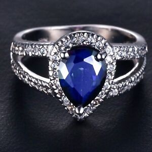 Handmade 2.90ct Sapphire Size US 7 14K White Gold Ring CM131