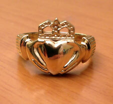Mens Heavy Claddagh  00004000 Wedding Ring Band 10k Yellow Solid Gold Great Quality Value