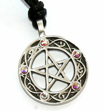 AB CRYSTAL April Birthstone Pagan PENTAGRAM Pewter PENDANT w/ Swarovski Crystal