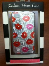 IPhone 4 Fashion Case Diamond Lips Kisses 2013 Tri Coastal Design Silver New