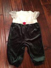 Holiday Baby Girl 12 Mon. Green Velvet/ Embroidered Full Length Jumpsuit EUC