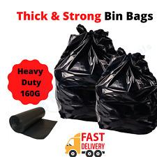 Extra heavy duty black bin bags Refuse Sacks Strong  Rubbish Bags Bin Liner 160g