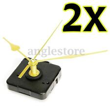 Pair DIY Long Gold Hand Wall Quartz Clock Spindle Movement Mechanism Repair Kit