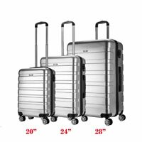 "PC Hard Shell Cabin Suitcase Case 4 Wheels Luggage Bag Lightweight 20"" 24"" 28"""