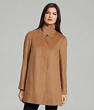Katherine Kelly 100% Cashmere Wing Collar A-Line Coat Fawn Size 14