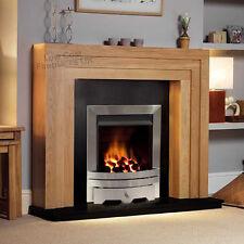 "GAS OAK SURROUND BLACK GRANITE MARBLE MODERN SILVER COAL FIRE FIREPLACE 48"""