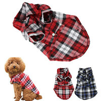 Plaid T Shirt Lapel Coat  Jacket Clothes Apparel Tops for Small Pet Dog DEL