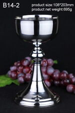 """Stainless Steel HOLY GRAIL Chalice Goblet Cup 13.4oz Altar, 7.99"""" High B14-2"""