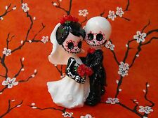 Cute Bald Guy Skeleton Couple Wedding Cake Topper 3 inches