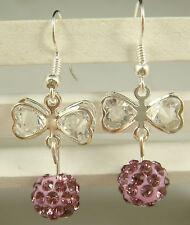 1pair butterfly 925 earrings silver pendant earrings Shambhala charm bead aq1h