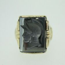 9k Yellow Gold Hematite Intaglio Men's Ring Size 7 1/2