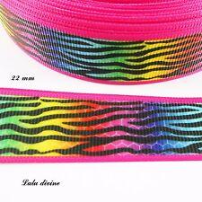 Ruban gros grain multicolore liseré rose zébré de noir de 22 mm vendu au mètre