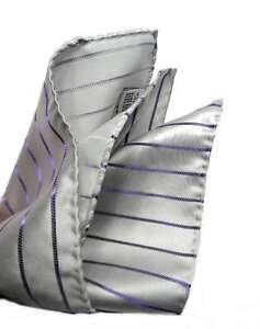 POCHETTE uomo fazzoletto da taschino grigio perla a righe viola elegante Italy