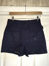 Topshop Lace Up  Navy High Waist Shorts Size 10