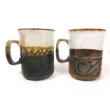 Set of 2 Vintage Mid-Century Modern Dunoon Ceremics Coffee Mugs made in Scotland