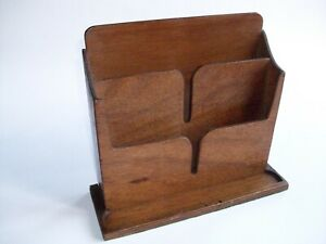 "Vtg Wooden 3-Compartment Letter Rack / Stationery Box /Desk Tidy 10 3/4"" wide"