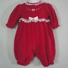 Sesame Street Red Plush White Lace Holiday Rose Long Leg One Piece Romper 3-6 mo