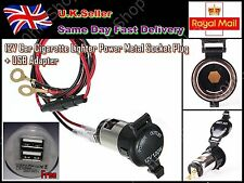 12V Car Cigarette Lighter Power Metal Socket Plug + USB Adapter