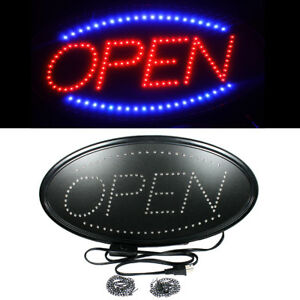 Ultra Bright LED Neon Light Animated Motion with ON/OFF OPEN Business Sign Oval