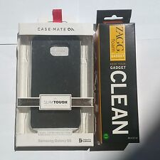 Case-Mate Studio Slim Tough Cover Samsung Galaxy S6 Black + ZAGG Cleaner NEW