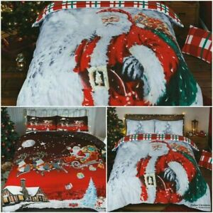 Christmas Xmas Duvet Cover Santa UK Hot Bedding Set Pillow Cases All Sizes New