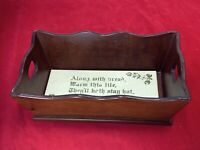 Antique Heated Tile Bread Dinner Rolls Serving Tray  Wooden Tray 12""