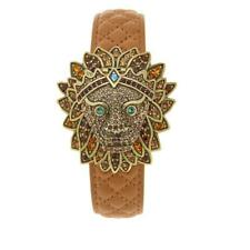 Heidi Daus Bling of the Jungle Crystal Covered Dial Genuine Leather Strap Watch