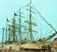 Gazela Primeiro ship 3 masted Barque 199' LOA museum Newport RI Vintage Postcard